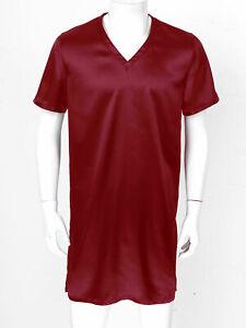 Men Nightshirt Satin Nightwear V Neck Short Sleeve Loose Pajama Sleepshirt XXL