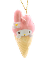 SANRIO MY MELODY Pink Ice Cream Cone Kawaii Bunny RARE Squishy Keychain Charm