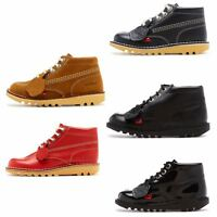 Kickers Kick Hi Core Kids Leather Ankle Boots in Black, Blue, Red & Tan