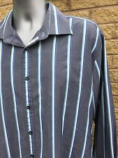 Ben Sherman Grey and Blue Striped Long Sleeve Shirt XL