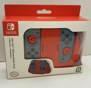 Nintendo Switch Joy-Con Silicone Skin Case Cover Action Pack Red