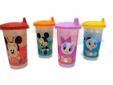 Tupperware Bell Tumblers set of 4 Disney Mickey, Minnie,Daisy, Donald Sippy 10oz
