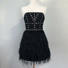 Bebe Black Strapless Studded Bustier Feathered Party Dress Size XS