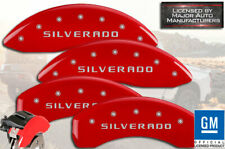 "2019-2020 Chevy ""Silverado"" 1500 Front + Rear Red MGP Brake Disc Caliper Covers"