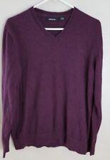 Claiborne Mens Purple/Maroon V neck Cotton Cashmere Pullover Sweater size M