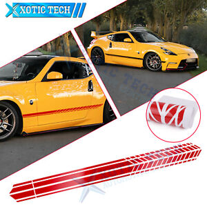 JDM Car Red Side Door Skirt Graphics Stripes Sticker For Nissan 370Z Altima GTR