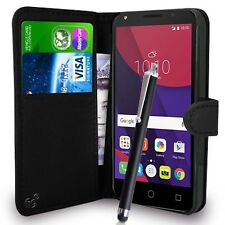 "Black Wallet Case PU Leather Book Cover For Alcatel Pixi 4 (5"") Mobile Phone"