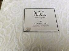 """Piu Belle White *KING* Floral Raised Chenille Matelasse Quilt Coverlet 96x110"""""""
