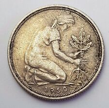 Fecha: 1950-Alemania/Alemania - 50 Pfennig-moneda alemana