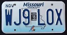 "MISSOURI "" WILDLIFE BIRD - SHOW ME STATE WJ9 LOX "" 2015 MO Graphic License Plate"