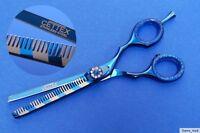"""Effilierschere Modellierschere Haarschere blau metallic/silberstreifen  5,5"""""""