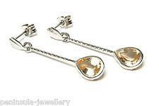 9ct White Gold Citrine Earrings Gift Boxed Made in UK