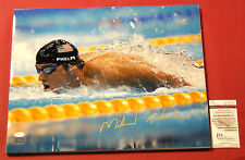 MICHAEL PHELPS AUTOGRAPHED 16X20 USA OLYMPIC SWIMMING JSA 23 GOLD MEDALS SVG