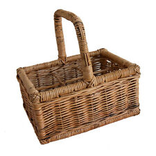 6 Bottle Holder Rattan Wicker Wine Carrier Basket with Handle