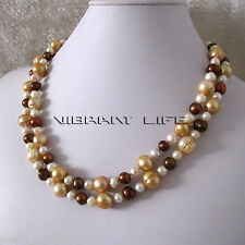 """Freshwater Pearl Necklace Ac 40"""" 7-12mm White Champagne Coffee"""