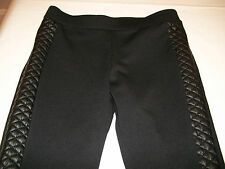 JUNIORS FAUX VEGAN LEATHER QUILTED SIDE PONTE KNIT LEGGINGS PANTS  (black)  XS