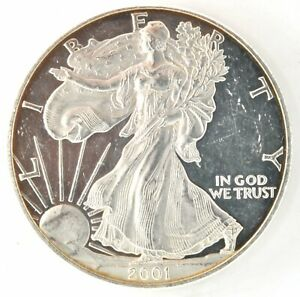 2001 W Proof  American Eagle Silver $1 Dollar Coin West Point Bullion Investment