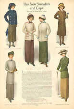 New Sweaters And Caps, by Anna May Cooper, Fashions, Vintage 1911 Antique Print