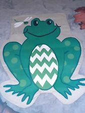 Frog Burlap House Flag - 31x39 by Evergreen