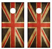 Grunge U.K. Flag Cornhole Board Game Wraps FREE SQUEEGEE #1775
