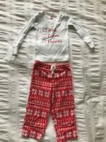 Carter's Toddler Girls Christmas 2 Piece Long Sleeve Top/Fleece Pants Pajamas 2T