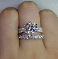 3.50 Ct Round Cut Diamond Engagement Wedding Bridal Ring Set 14k White Gold
