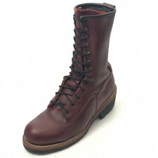 RED WING Men's 7.5D Logger Boots Red Metal Cap Toe Speed Lacing Made in USA