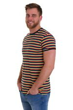 Mens Run & Fly 60s 70s Indie Retro Repeat Rainbow Striped T Shirt