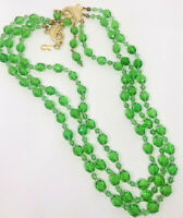 Beautiful Triple Strand Faceted Green Crystal Beaded Necklace Vintage Jewelry