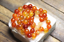 """Carnelian Orange Brown Gemstone Necklace Hand Tied Silk knotted 22"""" 925 Clasp"""