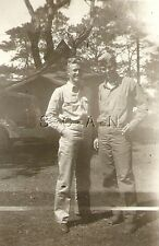 WWII Original US Army RP- Soldier- Two Friends- Tent- Jeep- Early or Pre War