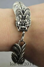 Collectible Handwork Old Miao Silver Carve Dragon Head Exorcism Usable Bracelet