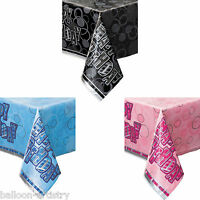 """54""""x84"""" Happy Birthday Pink Blue Black Glitz Plastic Table Cover Party Supplies"""
