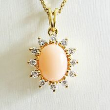 Anhänger Gold 750er Koralle Brillanten Diamant 18 kt. Goldschmuck Engelshaut