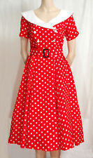 RED 1950'S POLKA DOT SHORT SLEEVE DRESS SIZE 12