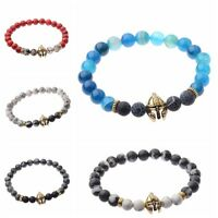 Charm Men Natural Lava Stone Gold Spartan Helmet Bracelet 8mm Beaded Bracelet