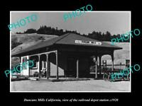 OLD LARGE HISTORIC PHOTO OF DUNCAN MILLS CALIFORNIA, THE RAILROAD DEPOT c1920
