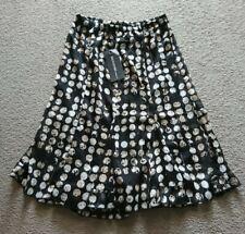 Signature Below Knee Length Size M Black Brown Elasticated Waist Skirt
