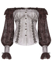 Punk Rave Womens Steampunk Blouse Top Vintage White Brown Boho Gothic Victorian