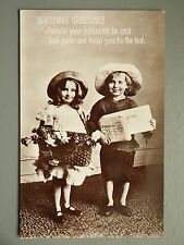 R&L Postcard: Birthday Greetings, Children Basket of Flowers/Newspaper, Davidson