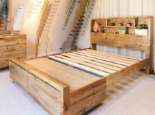 Queen Bed - Lobistar Reclaimed Timber Storage & Bookend Queen  Bed - Natural