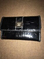 Liz Clainborne Black Patent leather women's tri fold wallet