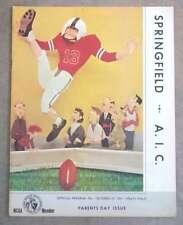 A.I.C. (MA) @ SPRINGFIELD (MA)  COLLEGE FOOTBALL PROGRAM - 1965 - EX SHAPE
