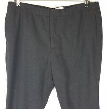 H&M Charcoal Gray Wool Pants Mens Flat Front Slim Leg Zip Fly Pockets Size 40