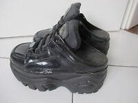 Buffalo Plateau Boots Gr 37 Sneaker Turnschuhe KULT Vintage Clogs schwarz lack