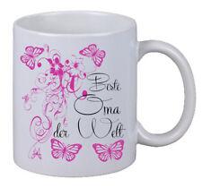 """Kaffee Tasse """"Beste Oma Floral"""" Geburtstag Geschenk Überraschung Butterfly"""