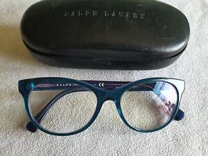 Ralph Lauren blue green cat's eye glasses frames. RA 7094 5683. With case.