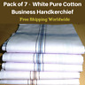 7 White Mens Business Handkerchiefs100% Pure Cotton Hankies Large 45x45CM Hanky