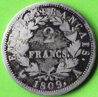 FRANCE 2 FRANCS NAPOLEON EMPEREUR 1809 A