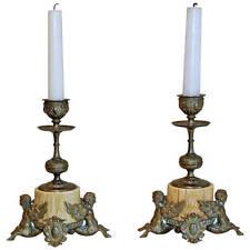 Pair Bronze Bone Winged Mythological Candle Sticks